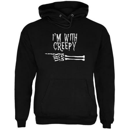 Halloween I'm With Creepy Black Adult Hoodie - Creepy Halloween 1900