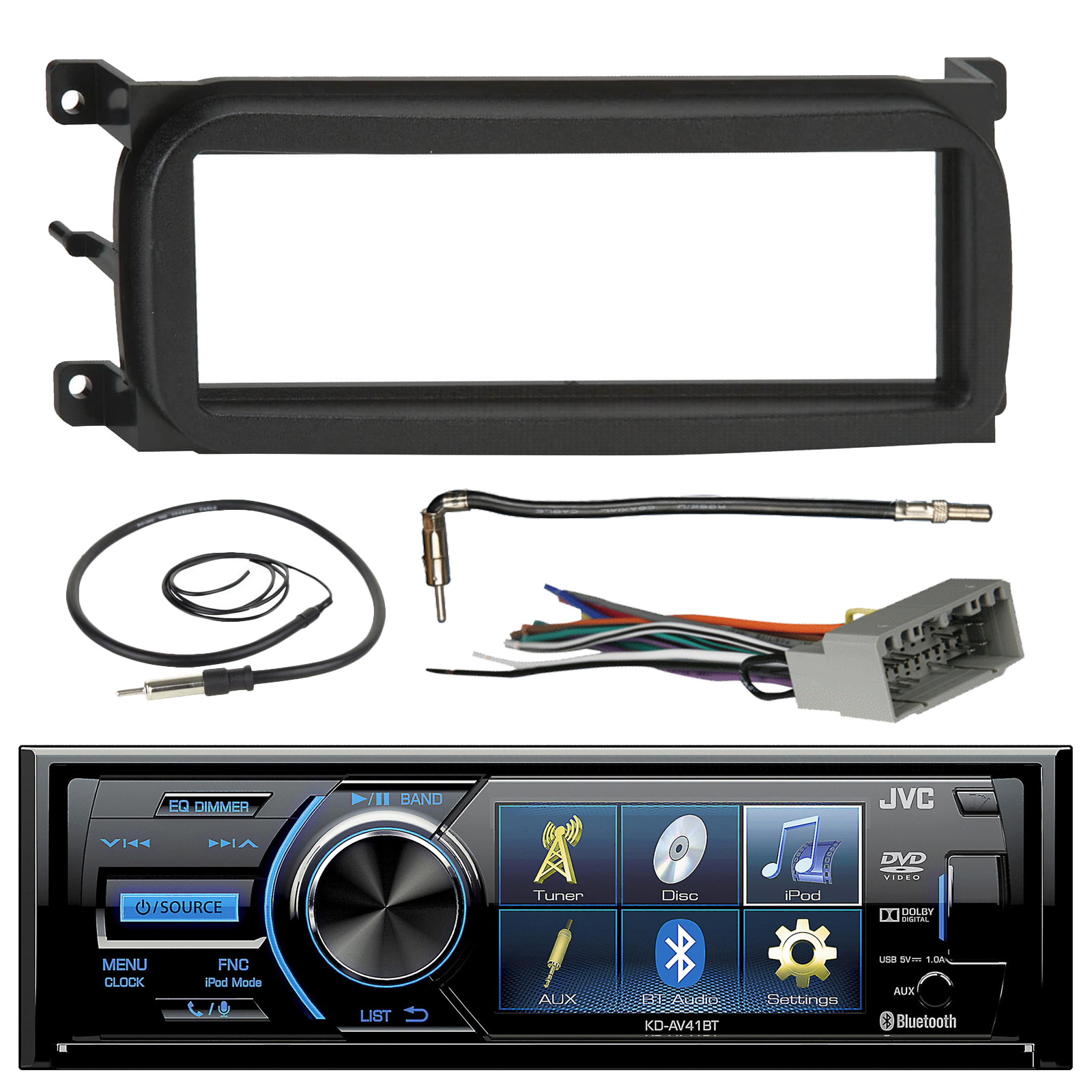 "JVC KD-AV41BT 3"" Inch Bluetooth In-Dash CD Car Stereo Audio Receiver Bundle Combo W/ Metra Install Kit For 1998-Up Chrysler/Dodge/Jeep Cars + Radio Wiring Harness + Enrock Antenna W/ Adapter Cable"