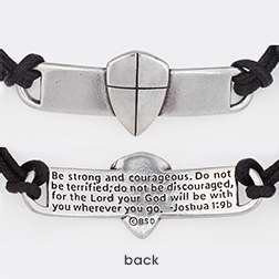 Bracelet-Shield Of Faith (Cross) w/Adjustable Cord-Pewter