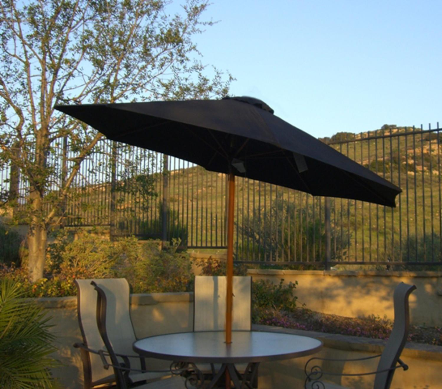 Great 9u0027 Outdoor Patio Umbrella With Hand Crank And Tilt   Black And Brown