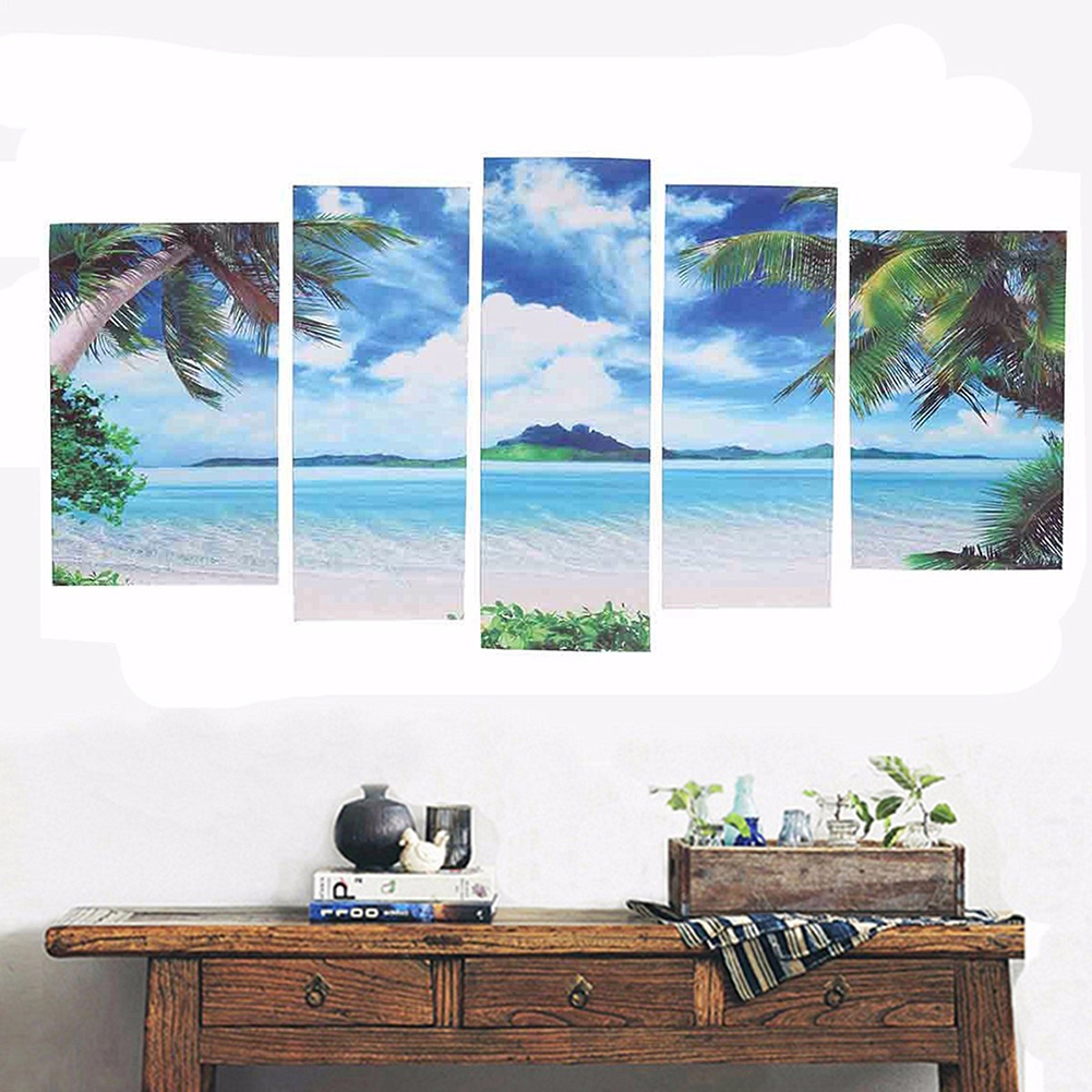 Girl12Queen 5Pcs/Set Seascape Tropical Beach Modern Canvas Home Wall Decor Art Paintings