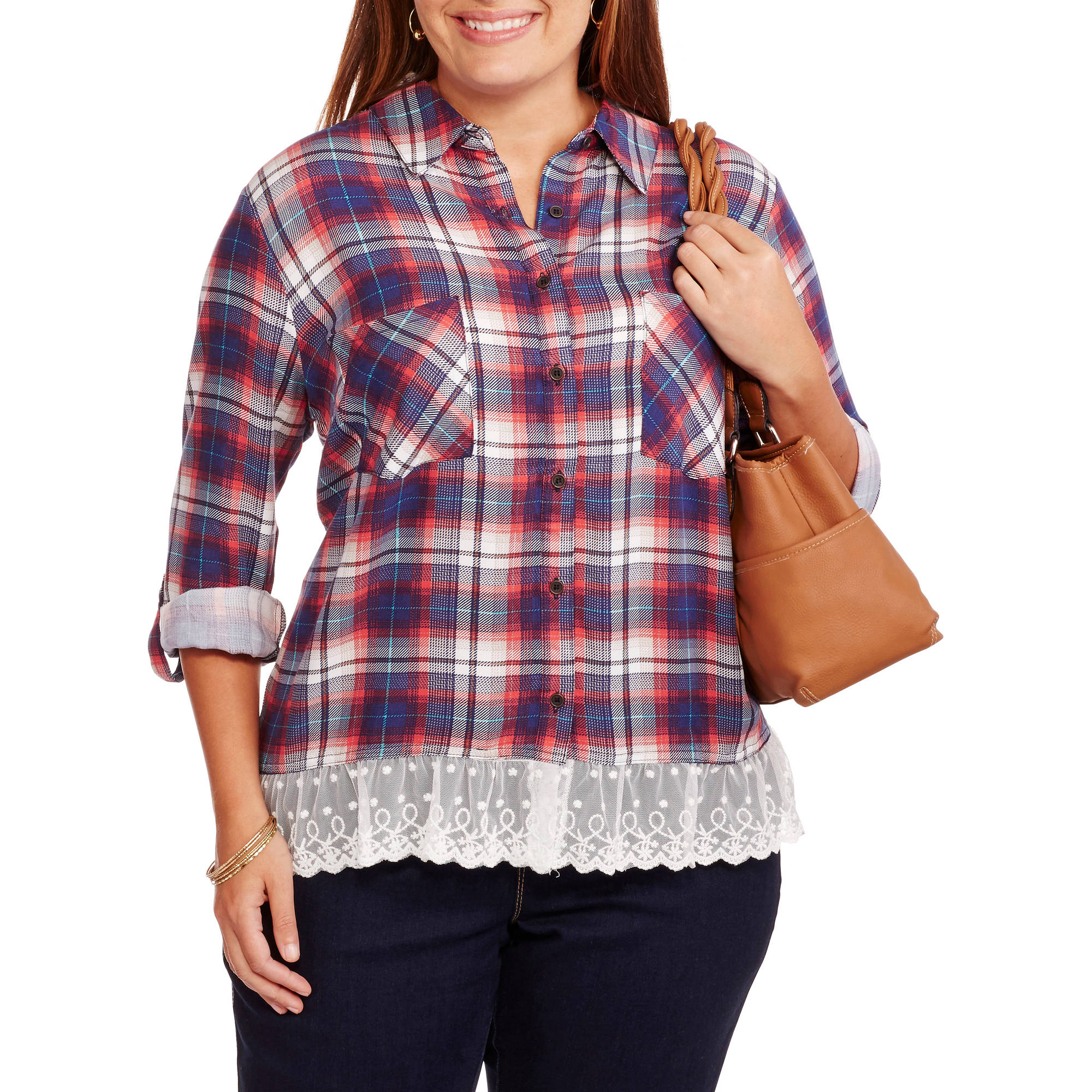 Absolutely Famous Women's Plus 3/4 Tab Roll Sleeve Plaid Shirt with Lace Trim Hem