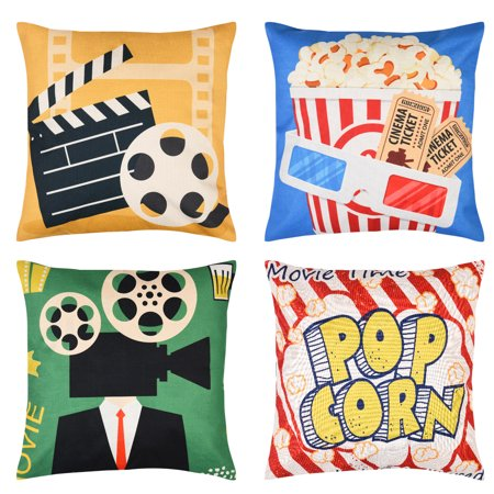 Uarter 4 Pcs 18''* 18'' Movie Theater Throw Pillow Cover Set Decorative Cushion Cases Square Pillowcases with Cinema Poster Design, Hidden Zipper (Decorative Pillows Theater)