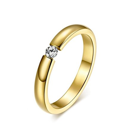 Ginger Lyne Collection Gold Plated Stainless Steel 3.5mm Single Crystal Wedding Band Ring
