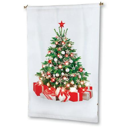Christmas Tree Lighted Curtain Panel - Hanging Tree Decoration, 69 inches - Christmas Tree Shop Curtains