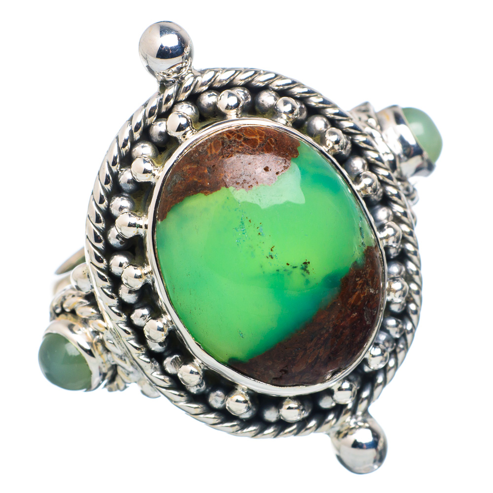 Ana Silver Co Boulder Chrysoprase Ring Size 8.75 (925 Sterling Silver) Handmade Jewelry RING883508 by Ana Silver Co.