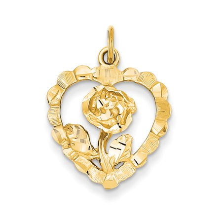 14K Yellow Gold Diamond Cut Rose Heart Charm or Pendant,