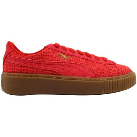 cheap for discount 2e4d3 8f3b9 Puma Basket Platform Woven Women's Shoes High Risk Red/Gold 364847-01