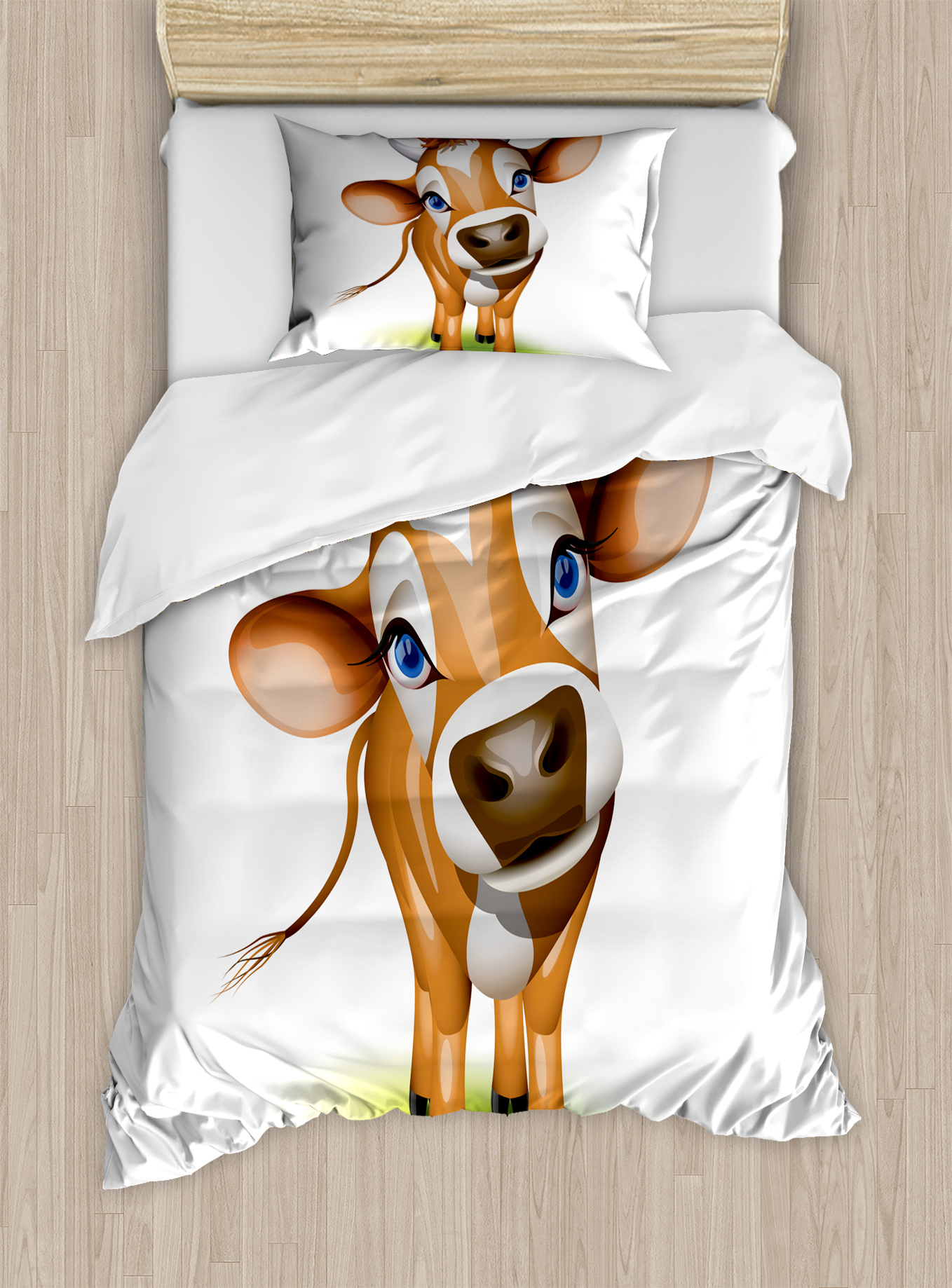 Baby Duvet Cover Set, Digitally Composed Cow with Beautiful Captivating Eyes Livestock Theme, Decorative... by Kozmos