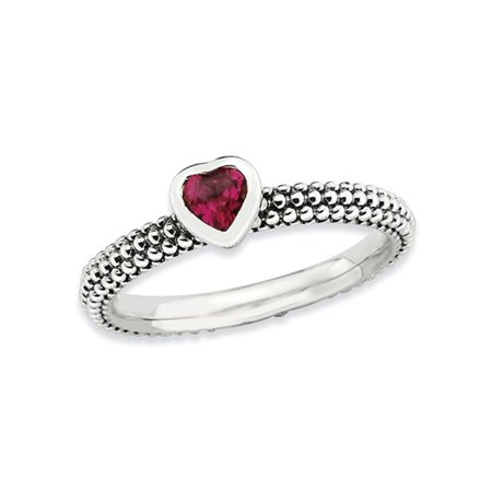Lab Created Ruby Heart 1/3 Carat (ctw) Promise Ring in Sterling (Lab Created Ruby Heart)