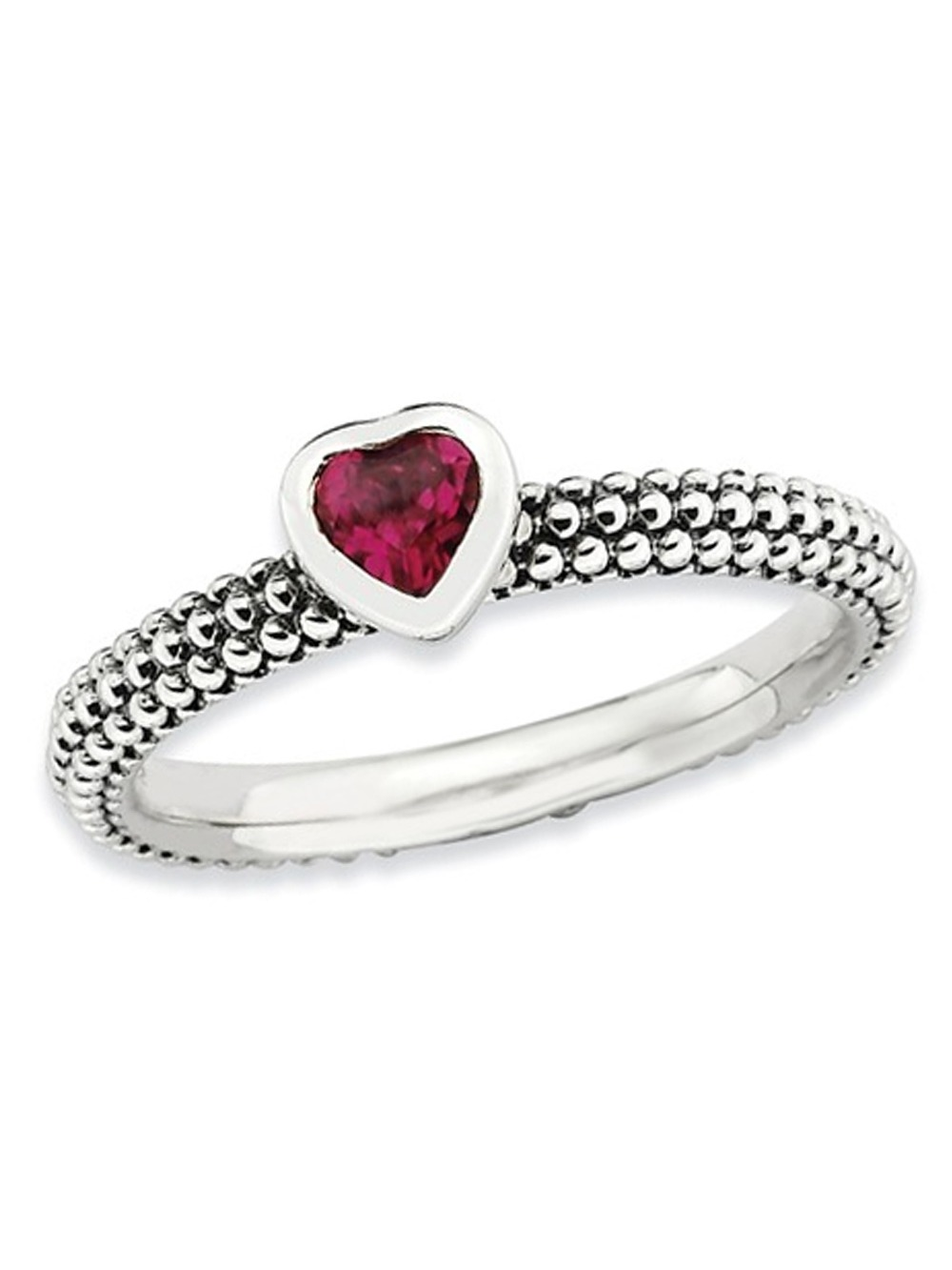 Synthetic Created Ruby Heart 1/3 Carat (ctw) Promise Ring in Sterling Silver