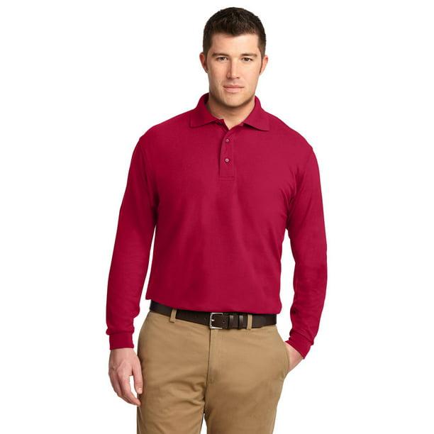 Port Authority K500LS Men's Long Sleeve Polo Shirt - Red - Medium