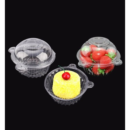 HURRISE 100 PCS Plastic Single Individual Cupcake Containers,fruit Salad Party Favor Cake Holder Muffin Case Clear Dome Box - Cake Favor Boxes