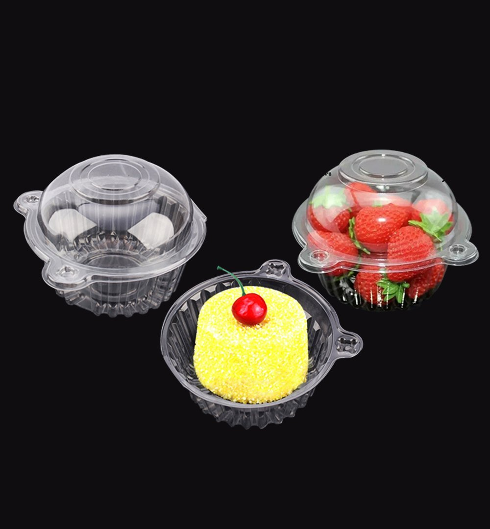 HURRISE 100 PCS Plastic Single Individual Cupcake Containers,fruit Salad Party Favor Cake Holder Muffin Case Clear Dome Box