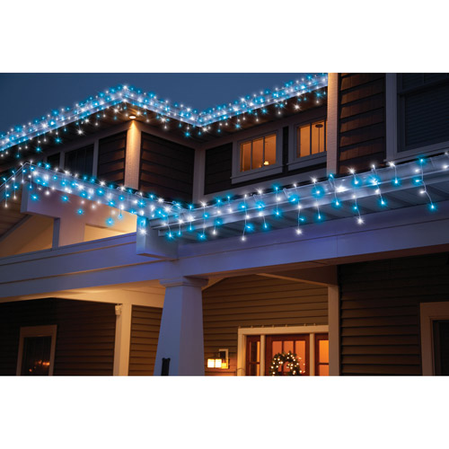 Holiday Time 70-Count LED Star String Christmas Lights, Cool White/Blue