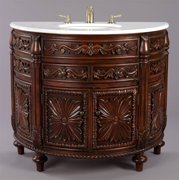 Carved Wooden Console Style Vanity with White Marble Top