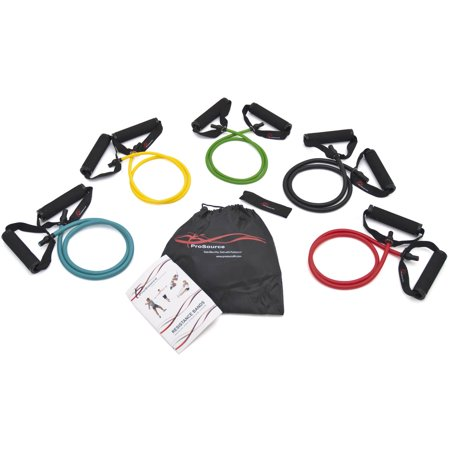 ProSource Tube Resistance Bands 8-Piece Set 2-20 lbs with Attached Handles, Door Anchor, Carrying Case and Exercise Guide