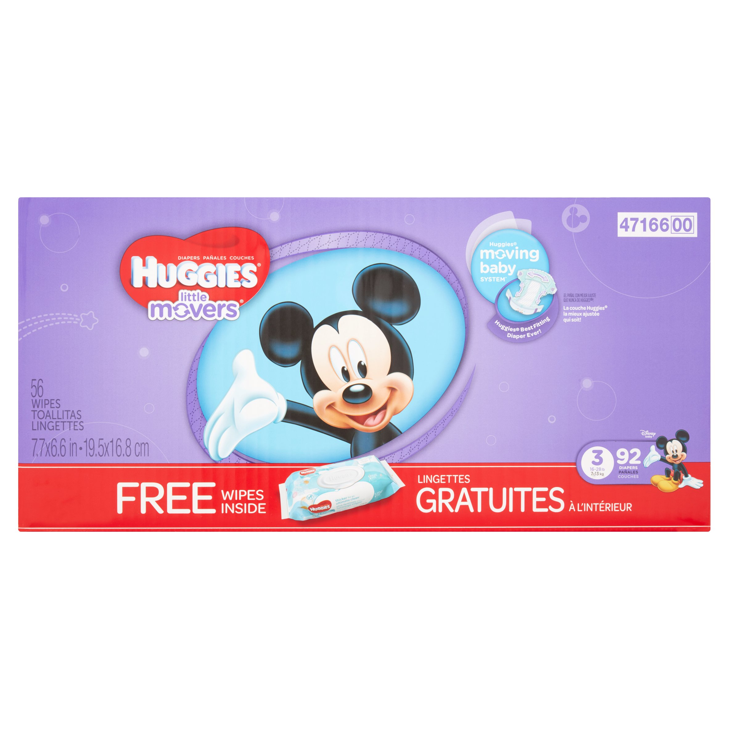 Huggies Little Movers Diapers, Size 3, 92 count + Bonus Wipes