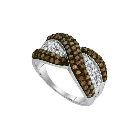 10kt White Gold Womens Round Brown Diamond Crossover Stripe Band Ring 1.00 Cttw