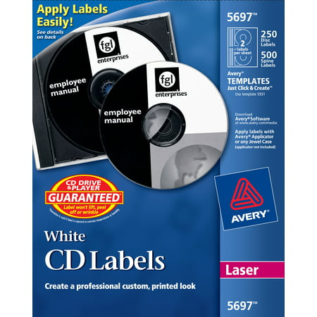 Avery CD Labels, White Matte, 250 CD Labels and 500 Case Spine Labels (5697) (Avery Spice Labels)