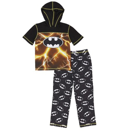 Boys' Batman Hooded 2 Piece Pajama Sleep Set (Little Boy & Big Boy)](Batman Items)