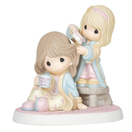 Precious Moments I Cherish Our Time Together Bisque Porcelain Figurine Mother and Daughter 144004 Precious Moments Anniversary Figurine