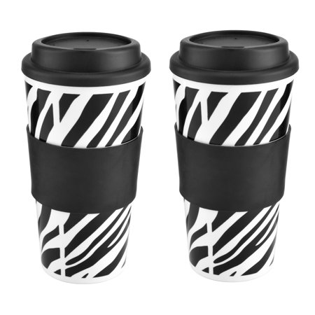 - Design For Living Set of 2 16 Ounce Zebra Print Tumblers