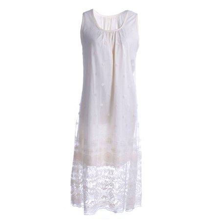 S/M Fit Beige Antique Knife Pleat Bodice Floral Lace Overlay Dress](Antique Dress)