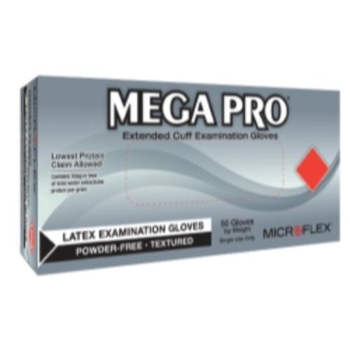 Micro Flex L851 Mega Pro Extended Cuff Latex Exam Gloves, Box Of 50, Size Small