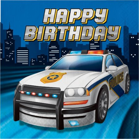 Creative Converting Police Party Birthday Napkins, 16 ct - Police Birthday Party