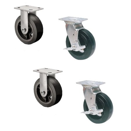 "Set of 4 Rubber Mold-on Steel Casters with 6"" x 2"" Wheels (2 Rigid & 2 Swivel)"