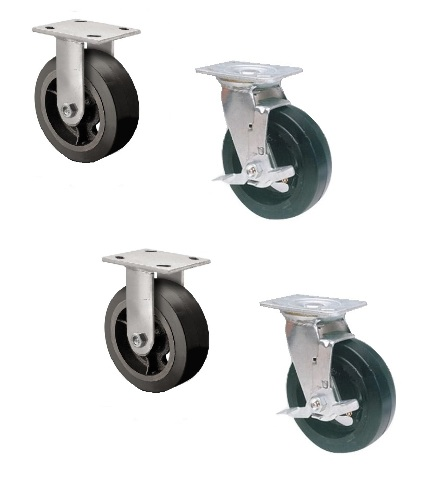 """Set of 4 Rubber Mold-on Steel Casters with 6"""" x 2"""" Wheels (2 Rigid & 2 Swivel)"""
