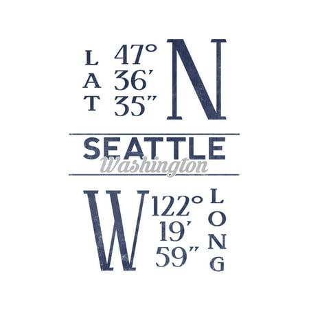 Seattle, Washington - Latitude and Longitude (Blue) Print Wall Art By Lantern (Seattle Washington Mall)