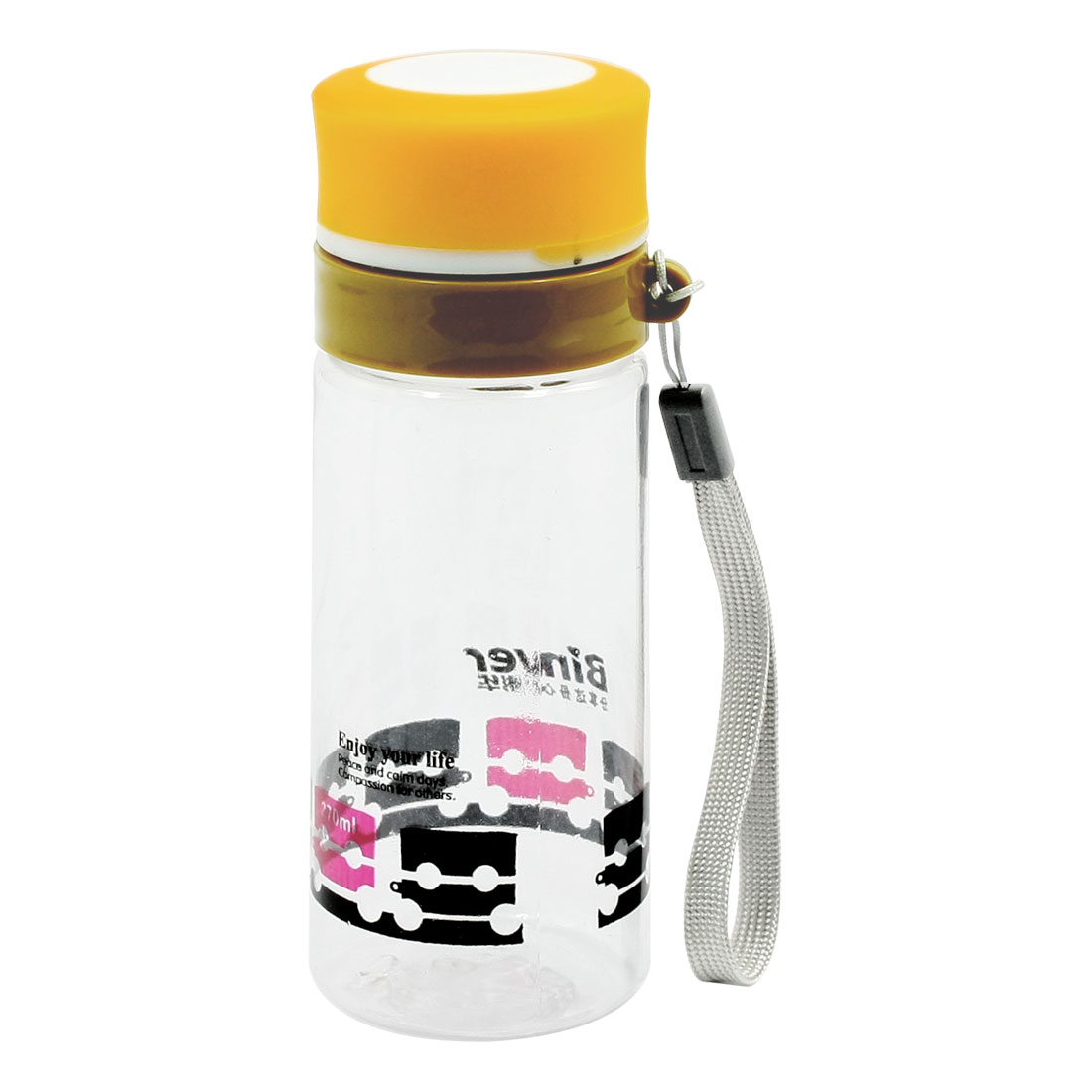 Travelling Sports Portable Clear 270ML Drinking Water Bottle Cup w Strap