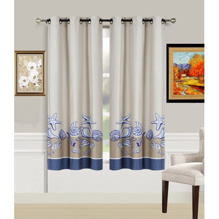 - 2-Piece SHELL Printed Lined Blackout Grommet Window Curtain Treatment, Set of Two (2) Beautiful Ocean Sea Shells Room Darkening Panels 37