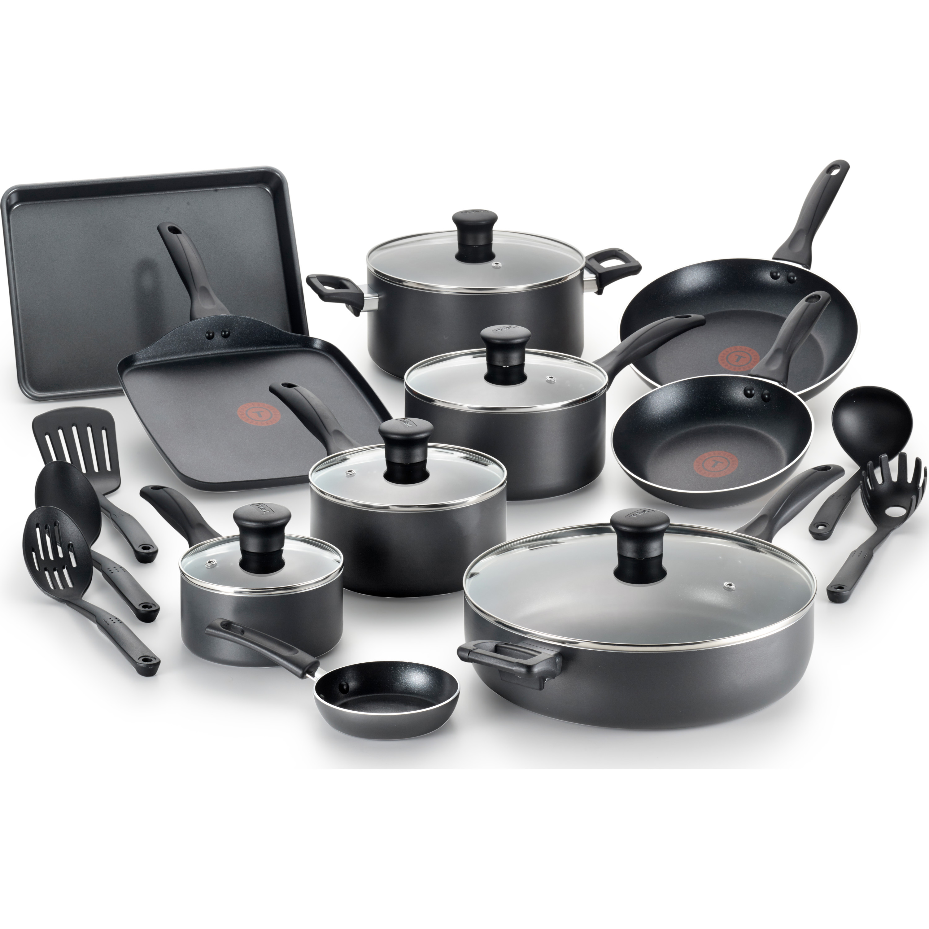 T-fal Easy Care Thermo-Spot Non-Stick Dishwasher Safe Grey Cookware Set, 20 Piece