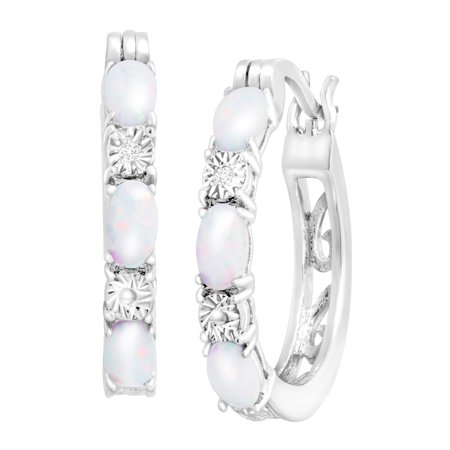 1 ct Created Opal Hoop Earrings with Diamond Accents in Platinum-Plated Brass (White Hoop Earrings)