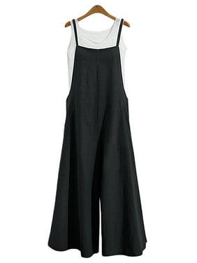 Jumpsuits for Women Casual Cotton Jumpsuit Long Suspender Twin Side Bib Wide Leg Overalls Pants Plus Size