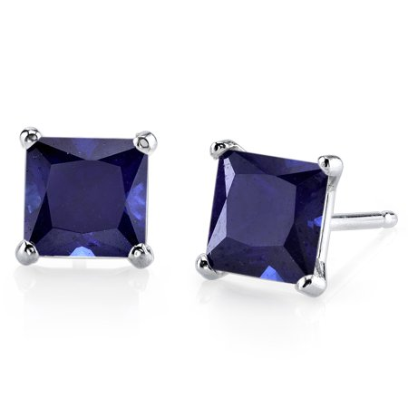 Peora 2.75 Ct T.G.W. Princess-Cut Created Blue Sapphire 14K White Gold Stud Earrings