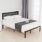 Mecor Twin Platform Bed Metal Frame - with Solid Wood Slats Support - Grey Foam Cushioned Upholstered Headboard-Twin Size