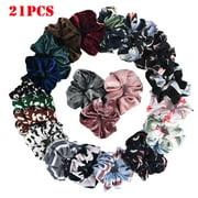 Outtop 21PCS Chiffon Flower Scrunchies For Hair Velvet Women Ponytail Hair Accessories