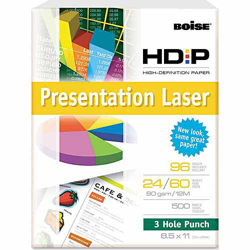 Boise HD:P Presentation Laser 3-Hole Punch Paper, 96 Brightness, Letter, WE, 500 Sheets
