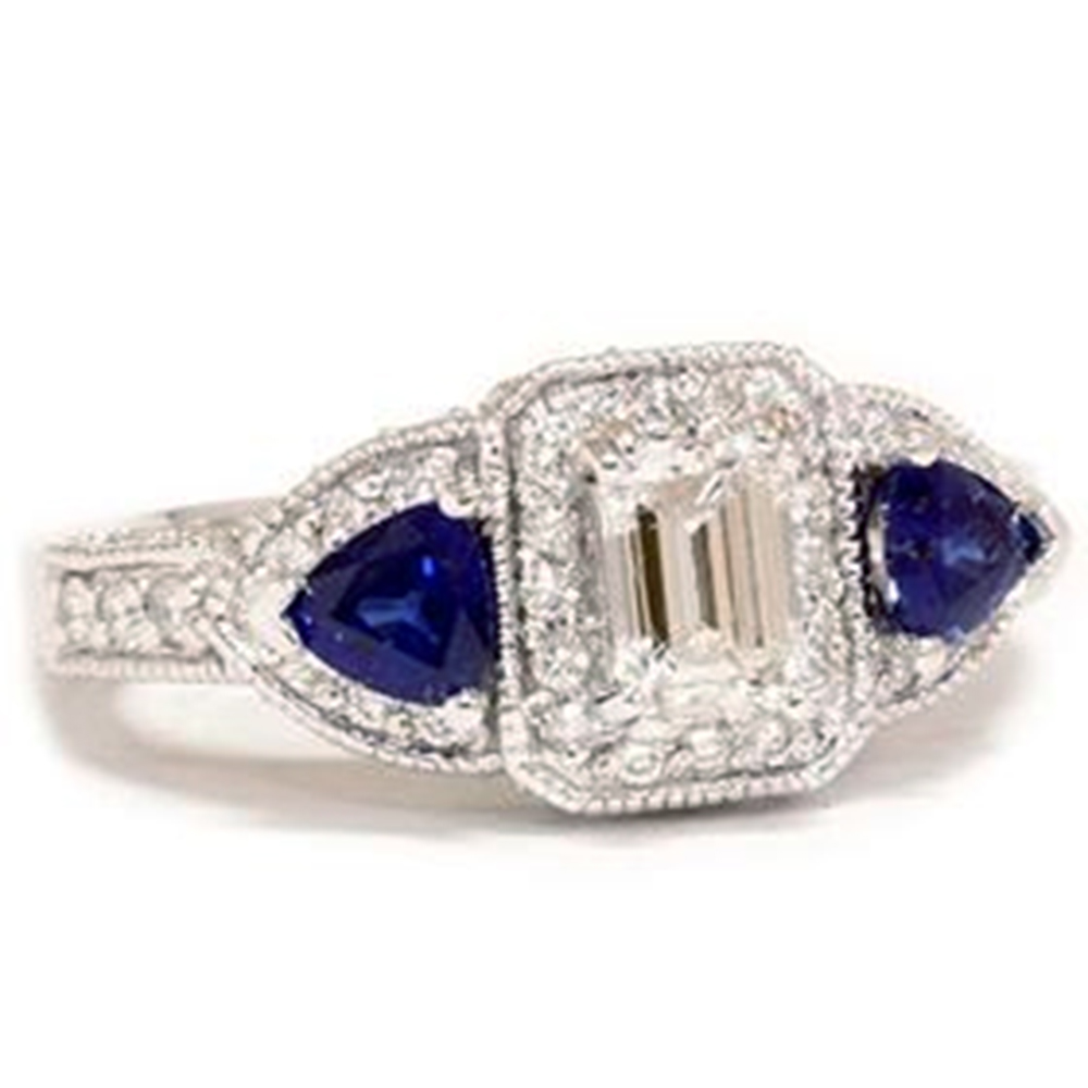 2 1 8ct Emerald Diamond & Treated Blue Sapphire Ring Solid 14K Gold by Pompeii3