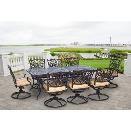hanover outdoor traditions 9 piece dining set with extra long table and 8 swivel. beautiful ideas. Home Design Ideas
