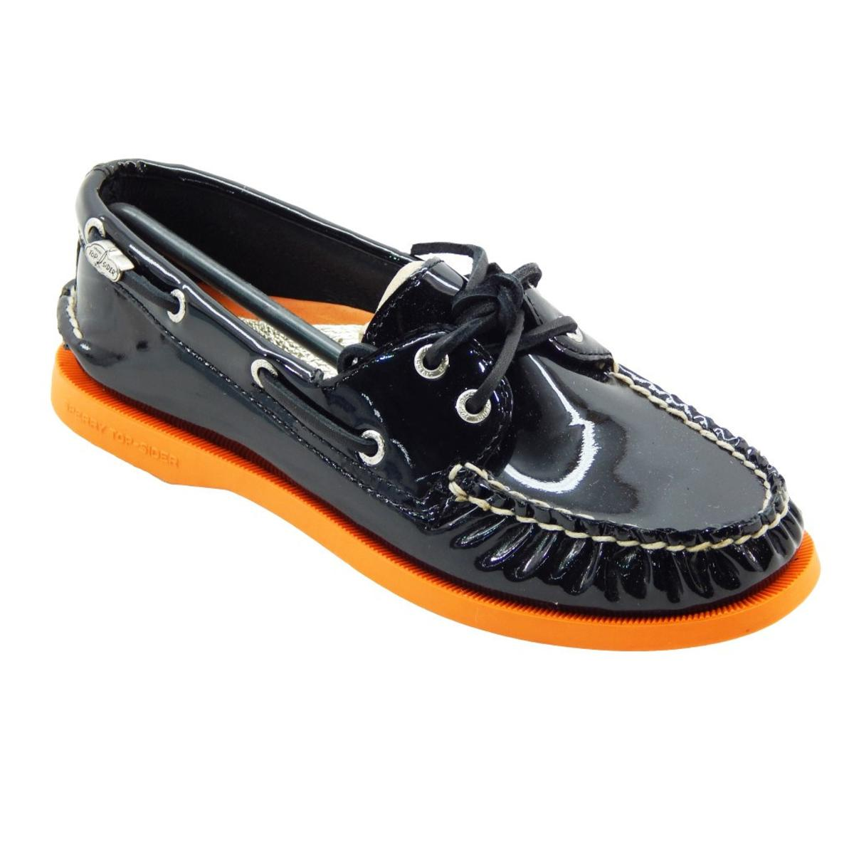 Sperry Top-Sider Women's Princeton Black Patent Orange Boat Shoe by Sperry Top-Sider