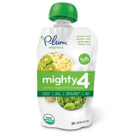 Plum Organics, Tots, Mighty 4, Nutritious Blend of 4 Food Groups, Spinach, Kiwi, Barley, Greek Yogurt, 4 oz(pack of (Blended Yogurt)