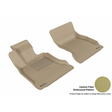 3D MAXpider 2011-2016 BMW 5 Series (F10) Front Row All Weather Floor Liners in Tan with Carbon Fiber Look