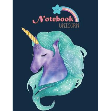 Notebook Unicorn: Cute Unicorn on Dark Blue Cover and Lined Pages, Extra Large (8.5 X 11) Inches, 110 Pages, White Paper - Cute Notebook