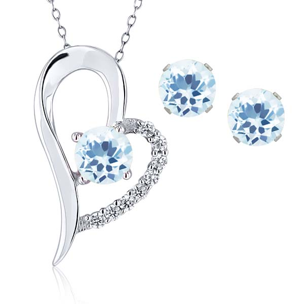 3.90 Ct Round Sky Blue Topaz 925 Sterling Silver Pendant Earrings Set
