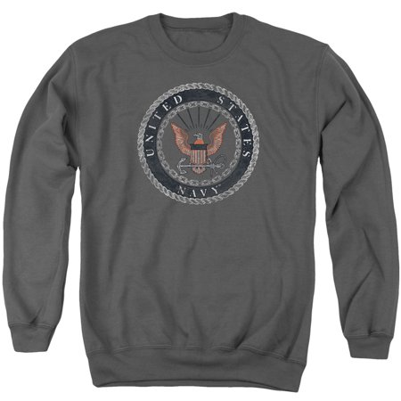 Navy Rough Emblem Nautical Rope And Chain US Navy Adult Crewneck Sweatshirt